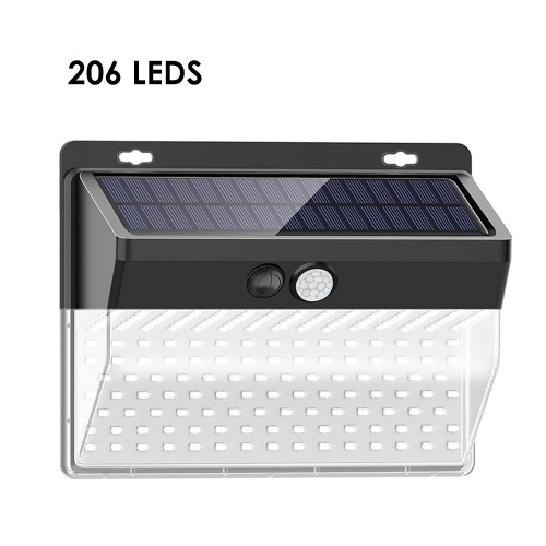 206Leds Solar Wall Light Human Body Induction Wall Lamp Outdoor Waterproof Courtyard Light