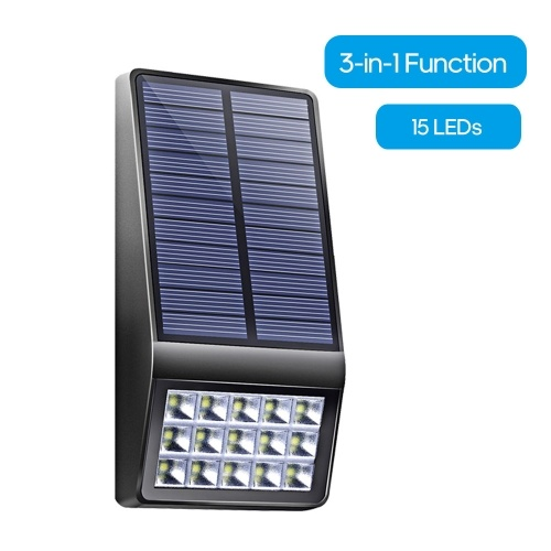15 LEDs Solar Wall Light Human Body Induction Wall Lamp IP65 Water-resistant Security Outdoor Lighting for Patio Pathway Garden Courtyard