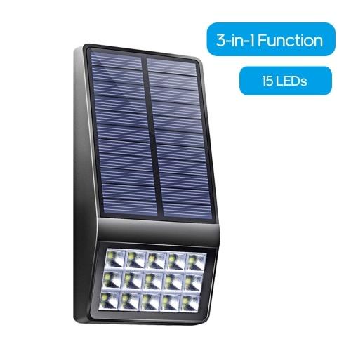 15 LED Luz de pared solar Lámpara de pared de inducción de cuerpo humano IP65 Resistente al agua Seguridad Iluminación exterior para patio Camino Jardín Patio