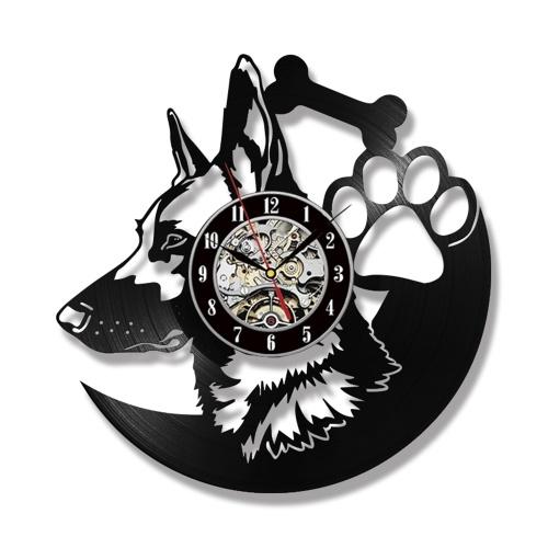 Reloj de pared de 12 pulgadas Reloj montado en la pared retro Reloj de perro pastor Animal Diseño LP Reloj (sin luz)