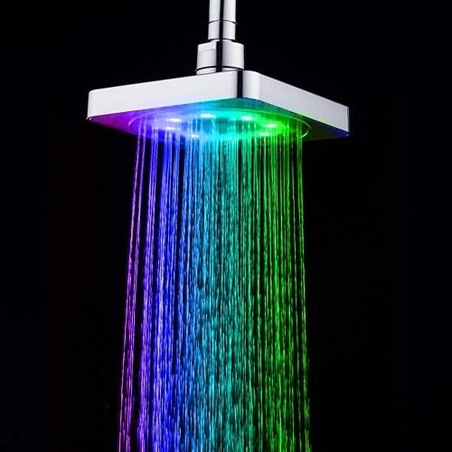 Automatic 3 Colors Changing 8 LEDs Light Shower Head Bath Sprinkler Temperature Control Sensor Inductor for Bathroom Washroom Portable