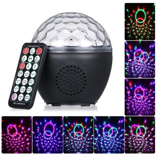 USB wiederaufladbare Disco Ball Licht mit IR-Fernbedienung BT-Anschluss Musik Lautsprecher Sound Aktiviertes Licht für Partys Geburtstag Geschenkraum Hochzeit Weihnachten