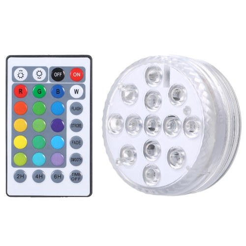 Submersible Pool Light with IR Remote Dimmable 13pcs RGBW LEDs Pond Fountain Lamp 16 Colors & 4 Lighting Modes Timer Function IP68 Waterproof Underwater Light 3 * AAA Battery(not included) Powered