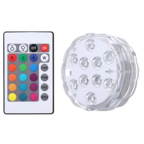 Submersible Pool Light with IR Remote Control Dimmable 10pcs RGBW LEDs Pond Fountain Lamp 16 Colors & 4 Lighting Modes IP68 Waterproof Underwater Light 3 * AAA Battery(not included) Powered