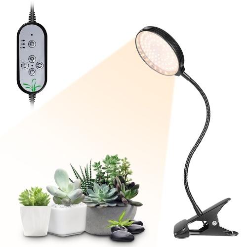USB Plant Grow Light 78 LEDs Sunlight Full Spectrum Adjustable Desktop Clamp Growing Lamp for Indoor Plants 5 Dimmable Levels 4/8/12H Timer