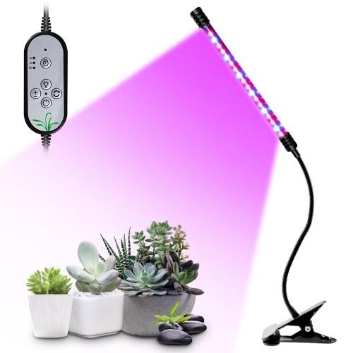 USB-кабель для выращивания растений, красный и синий, полный спектр, регулируемый угол освещения, настольный зажим, лампа для выращивания растений для комнатных растений, 5 уровней яркости, таймер 4/8/12 часов