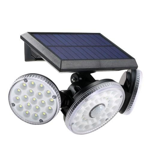 70 LEDs IP65 Solar Three Heads Wall Lamp Three Lighting Modes