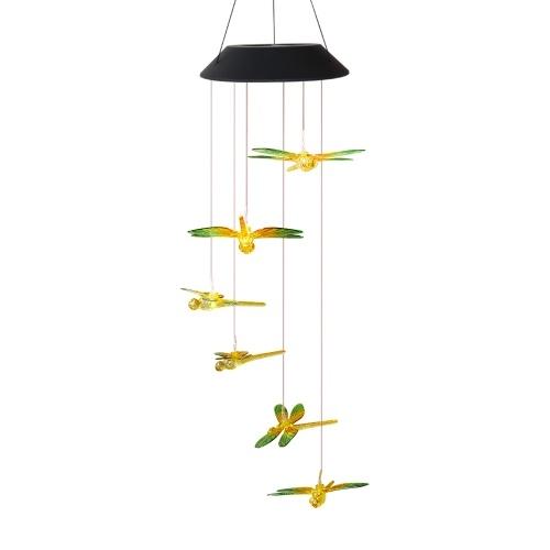 Lámpara de carillón de viento solar 6 colores que cambian LED Colorido / Transparente Libélula Tranparent Sol / Luna