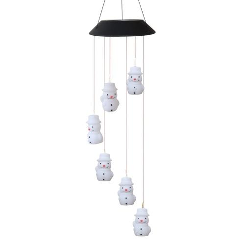 Lampada a campana a vento solare 6 colori che cambiano LED pupazzo di neve / fiocco di neve / stella