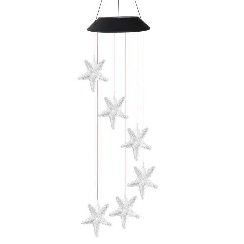 Lâmpada Solar Wind Chime 6 cores que mudam LED Starfish / Wishing Bottle Style