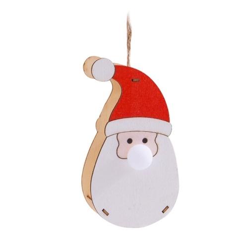 Mini ornamento natalizio Babbo Natale Design Natale LED Lampada illuminata con luce Albero appeso Decorazione fai da te Cordino decorativo per festività natalizie H-alloween Regalo del Ringraziamento Regalo Portatile