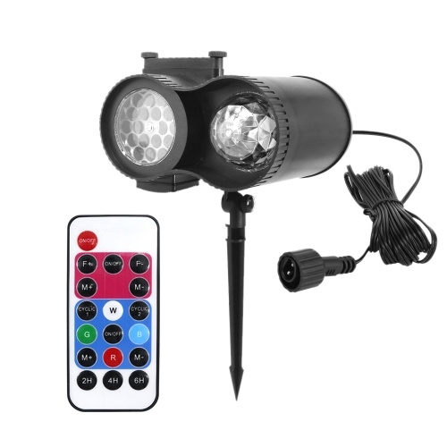 A C 85-240V 15W LEDs 48 Patterns Mini Projector Lights Spot Outdoor Lawn Lamp Moving Rotatable Snowflake Water W-ave Spotlight Rotating Lighting Fixture with RF Remote Control Controller IP65 Water Resistance Supported 12 Film Cards Changeing Diverse Lighting Effects 2/4/6H 3 Levels T-iming T-ime Setting for Christmas Xmas H-alloween Holiday Festival Party Home Decor Decoration