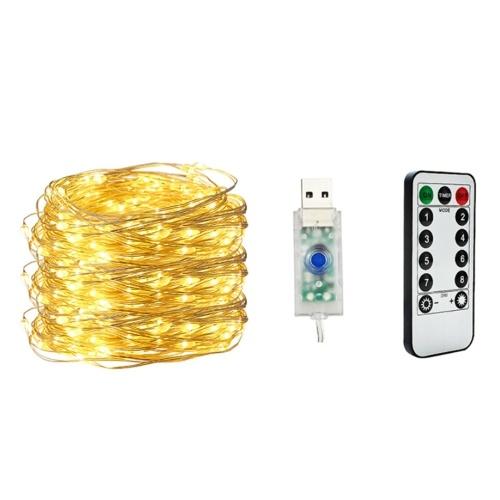 20M 200 lumières USB chaîne lumière fil de cuivre blanc chaud 8 modes télécommande décoration d'arbre de Noël