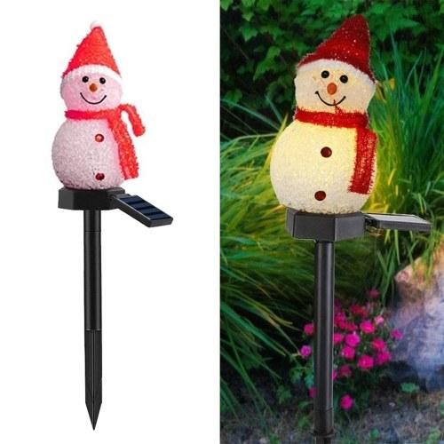 Sensor de luz sensível a energia solar para controle de luz de gramado com design de boneco de neve lâmpada de paisagem ao ar livre