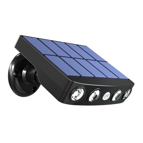 Lâmpada LED de parede movida a energia solar Luzes giratórias à prova d'água com sensor de movimento Lâmpada para jardim externo com suporte