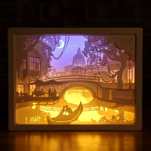 3D-Papier schnitzen Nachtlicht LED Papercut Light Box Skulpturen Rahmen Geschenk dekorative Desktop-Lampe