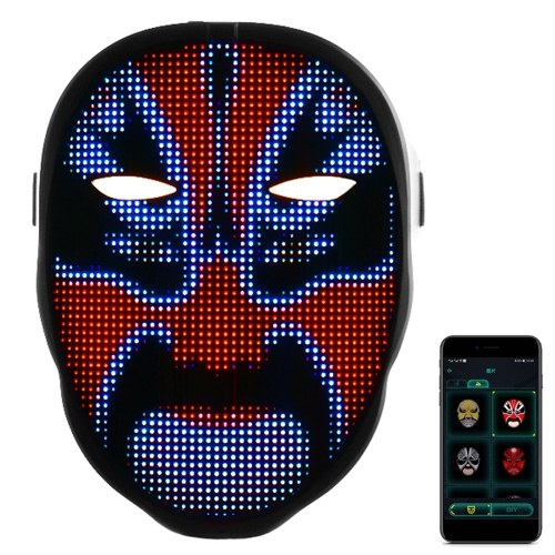 BT LED Luminous Facemask App Control Pattern Changeable Lighting Facemask Festival Party Costume Props Christmas Decor