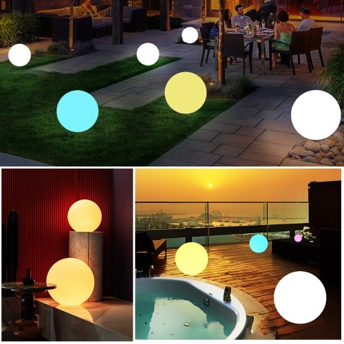 14 inch LED Balls Waterproof LED Glow Globe Floating Pool Lights Inflatable Solar and USB Powered