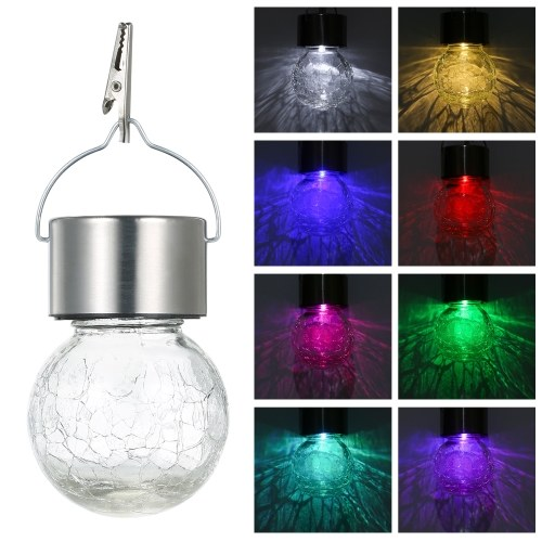 DC 1.2V 0.1W Solar Powered Crack Glass Ball Hanging Lamp Scenic Spot Crack Outdoor Decorative Lamp