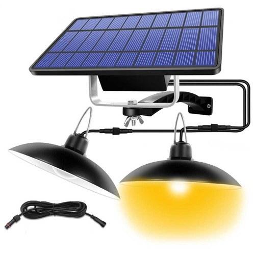 Solar Double Heads Retro Ceiling Lamp Paisagem Patio Village Corredor IP65 LED Light