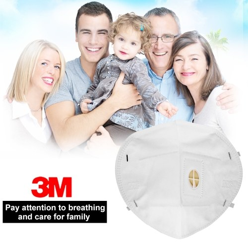3M 9001V 1Pcs Particulate Respirator KN90 Masks with Breathing Valve Aganist PM2.5 Smog-proof Dust-proof