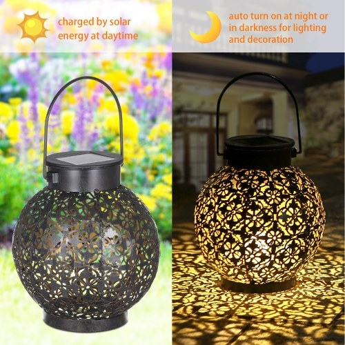 Tomshine Outdoor Solar Lantern Light Hollowed-out Design Decorative Metal Hanging LED Lights Sensitive Lighting Control Lamp IP44 Water Resistant for Patio Courtyard Balcony Garden 1pcs