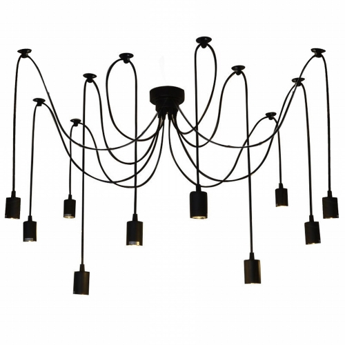 Lixada 10 Arms E27 Ceiling Spider Pendant Lamp Light Antique Classic Adjustable DIY Retro Chandelier Dining Hall Bedroom Home Lighting Accessories