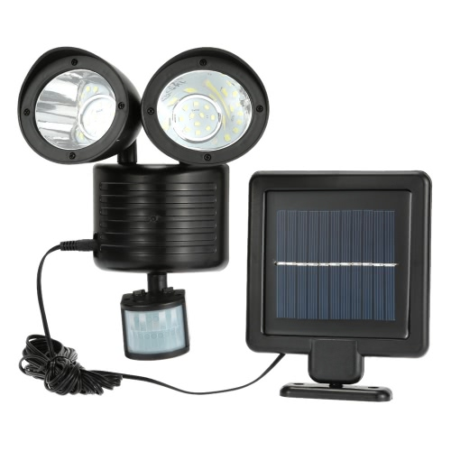22 LEDs Solar Powered Rotatable Adjustable Double Dural Heads Security Wall Lamp Light Induction Detection PIR Motion Sensor for Outdoor Garden Road Pathway