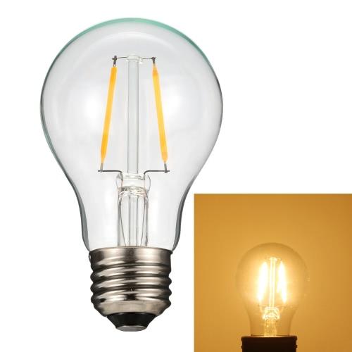 2W A60 Светодиодные лампочки накаливания AC220-240V Основание E27 Урожай ретро отдыха Фестиваль украшения Теплый белый