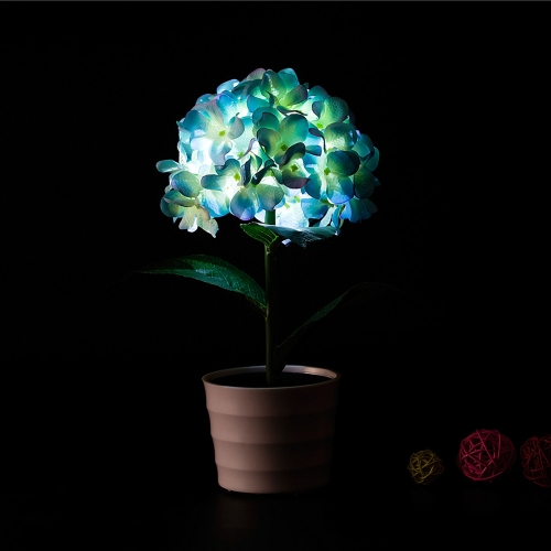 2 LEDs Solar Powered Hydrangea Flower LED Light Night