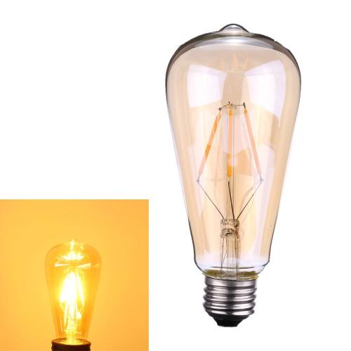 Tomshine 4W ST64 Светодиодные лампочки накаливания AC220-240V Основание E27 Edison Стиль Тауни Античный Урожай ретро отдыха Фестиваль украшения Теплый белый