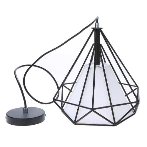 Tomshine 110-240V 0-60W Industrial Vintage Cage Pendant Light Iron Art Diamond Pyramid Wrought Ceiling Lamp for Restaurant Bedroom Living Room Studio Loft Aisle