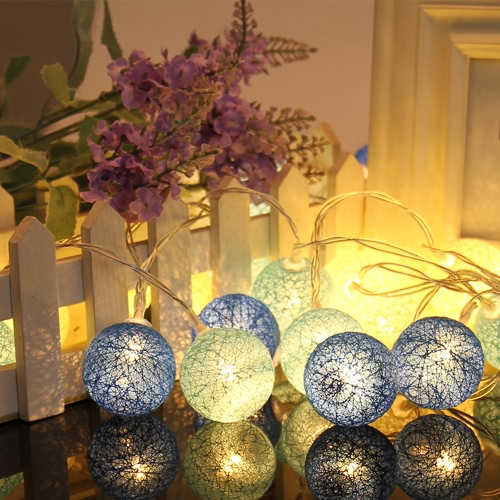 10/20 piezas de colores de la cadena de la lámpara de algodón de la bola