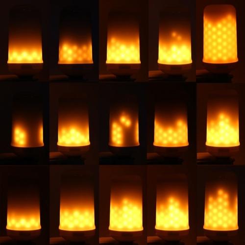 1900K SMD2835 99 LEDs 5W Lâmpada Chama Lâmpadas de efeito de fogo dinâmico Lâmpadas de emulação variáveis Flickering AC85-265V Lâmpada de milho decorativa Atmosfera de lanterna antiga para Holiday Hotel Christmas E27 / E14