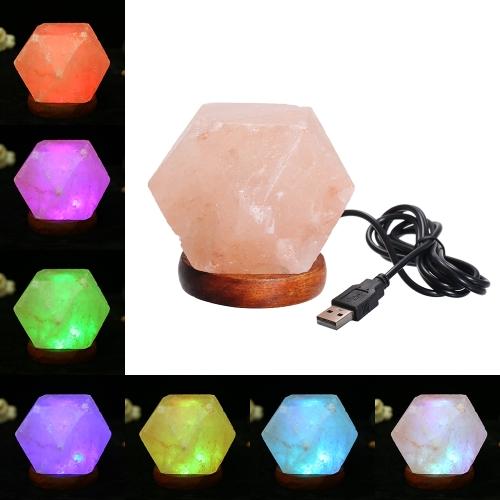 Натуральная гималайская соль Светодиодная лампа для очистки воздуха с помощью USB-зарядного порта