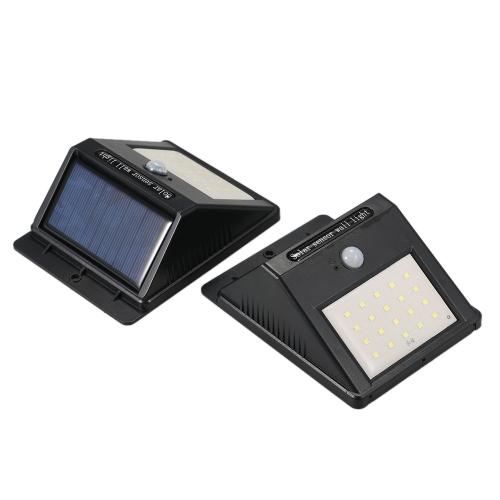 2 Pack 20LEDs Аккумуляторная солнечная электрическая лампа с датчиком движения PIR