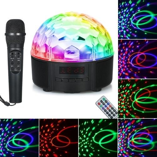 Красочный светодиодный BT Speaker Light Пульт дистанционного управления Музыкальный плеер + FM-радио + Вращающийся шарик с микрофоном
