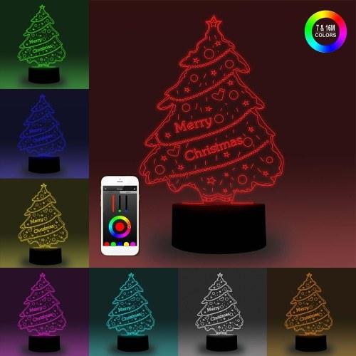 3D Smart Night Light Tablero Illusion LED Lámpara 7 colores Ajuste de brillo Control de aplicación regulable