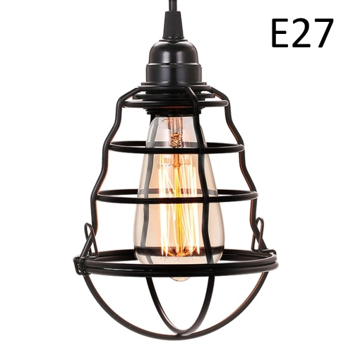 Industrial Mini Pendant Light Vintage Hanging Cage Ceiling Lights Adjustable Pendant Lamp for Kitchen Dining Room Bars (no bulb)