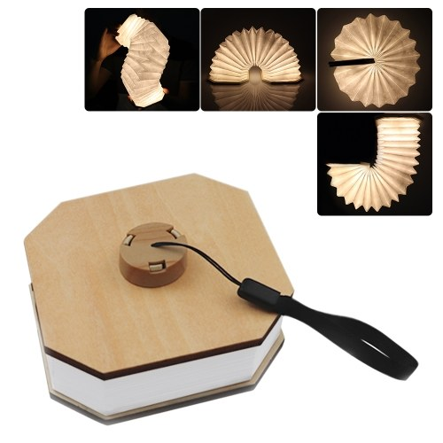 Wooden LEDs Book Light USB Rechargeable Organ Lamp Foldable Hanging Night Light Decorative Lamps