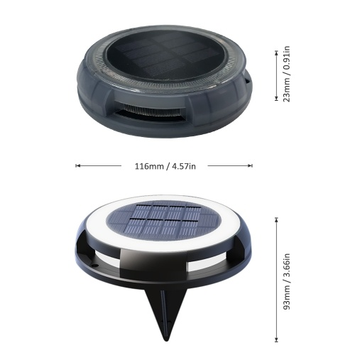 Solar Powered Disk Lights Lawn Lamp IP68 Waterproof Outdoor Ground Lights for Lawn Garden Driveway Pathway