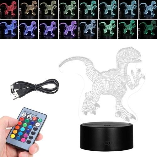 3D Led Night Light Illusion Lampe Motif De Dinosaure Couleur Changement Lumières Table De Chevet Lampe de Bureau avec Toucher & Télécommande pour Enfants Cadeaux Décoration de La Maison