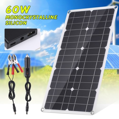 60W Monocrystalline Solar Panel Off Grid High Efficiency Module IP65 Water Resistant for Home RV Car Boat Electronic Device
