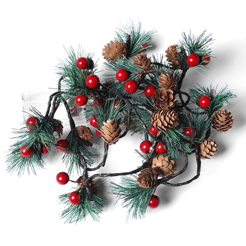 6,56ft Tannenzapfen Jingle Bell LEDs Weihnachtslichterketten