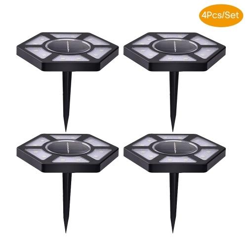 Lampada da prato per illuminazione di paesaggi esterni a 12 luci a LED a terra da 4 pezzi