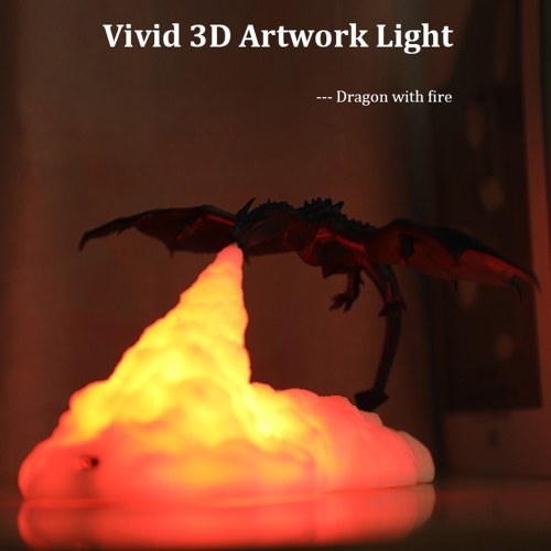 3D Printing Fire Dragon Fire Lamp Warm Night Light USB Rechargeable Home Decoration