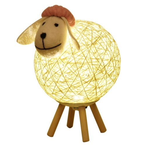 Dimming LEDs Night Light for Kids Cute Sheep Remote Controller Yarn-ball Design Hand-woven Lampshade Moon Lamp with Timer Function Nursery Lamp USB Baby Nightlight for Bedroom Home Indoor Decoration