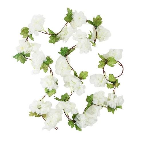 2.2M 25 Lamp Beads Simulation White Cherry Blossoms Green Leaves Rattan String Light