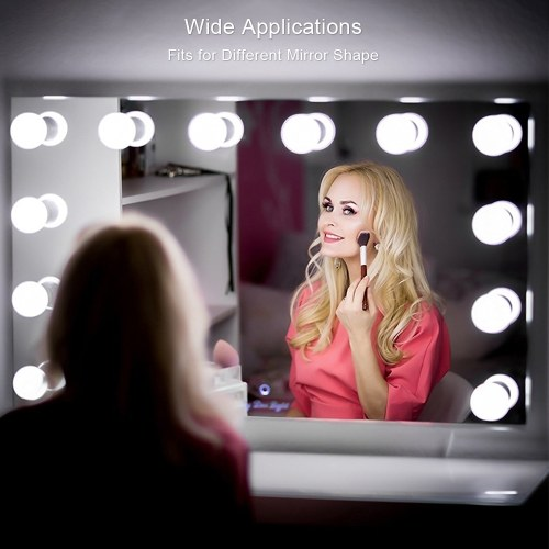 Tomshine DC5V 10W 10 LED Vanity Dimmable Mirror Light Kit USB Powered Operated Memory Function 5 Levels Brightness Adjustable 3 Light Colors Changing Stretchable String Light for Dressing Room Salon