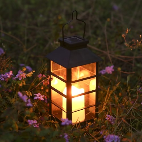 Tomshine Vintage Style Solar Powered Lantern Lights Flickering Flame Fire Candle LED Lamp Outdoor Hanging Decorative Lighting for Garden Patio Courtyard